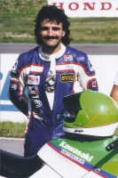 Race City, Calgary in 1988, and Miguel Duhamel gets ready for the Pro Superbike Feature aboard the Pepsi/Monette Sport Kawasaki.  He would be eliminated in an early race multi-bike incident. [Photo: Colin Fraser]