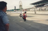In 1993, Steve Crevier competed in the prestigious Suzuka Eight Hour Endurance race, riding for a top privateer Honda RC30 squad, Sakarai Racing.  Here, Crevier pulls in to the pit lane during practice in Japan, displaying some of the famous skills he first exhibited long before stunting was a thing.  Crevier's team were well placed before a late race crash pushed them down the order.  From Japan, Crevier rushed back across an Ocean and a Continent to compete at the CSBK National round the next weekend at Atlantic Motorsport Park, Nova Scotia.