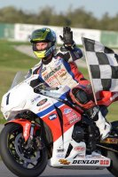 Jodi Christie celebrates his Superbike victory and RACE Superseries overall 2014 Regional Ontario Championship aboard his MOPAR CSBK National title winning Accelerated Technology built Honda CBR1000RR at Shannonville Motorsport Park. [Photo: Colin Fraser]