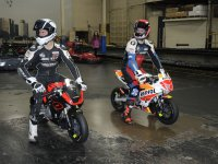 Mopar CSBK rivals Kenny Riedmann and Ben Young prepare to test the range of Ohvale racers at the Toronto Mini-Indy Go-Kart indoor venue. [Photo: Colin Fraser]